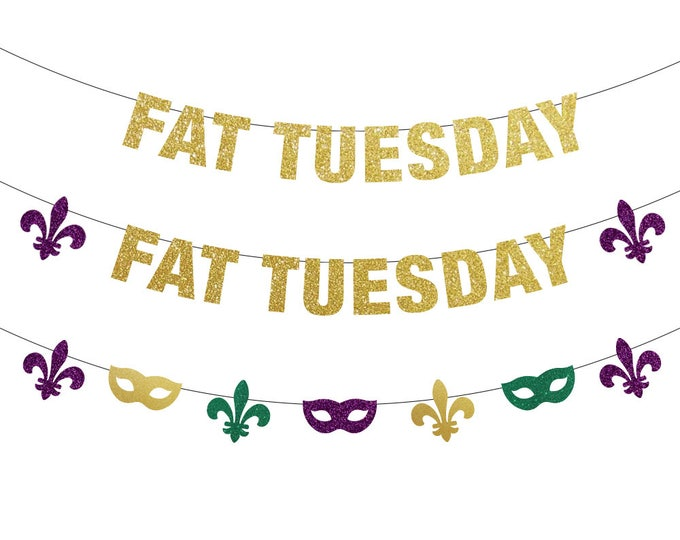 Fat Tuesday Banner, Mardi Gras Decorations, Mardi Gras Banner, Mardi Gras Bachelorette, Mardi Gras Backdrop, Fat Tuesday, Mardi Gras