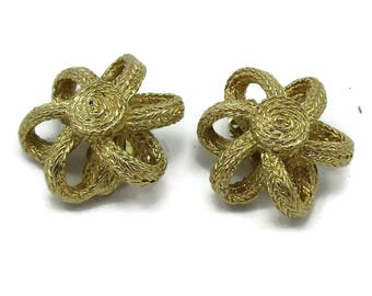 Designer Givenchy Gold Tone Clip Earrings Tiwsted Bows Signed Haute Couture Modernist New York Vintage Costume Jewelry High End