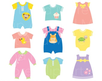 Baby Clothes Clipart Clip Art, Cute Baby Dress, Children Clothes, Baby Shower Clipart