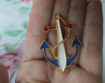 2 Vintage Mod Metal Enamel Anchor Pin Brooch, Nautical Pin signed by JJ