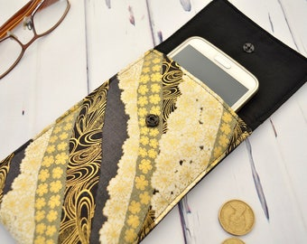 Cell phone cover, mobile phone case, padded gadget bag, japanese fabric pouch