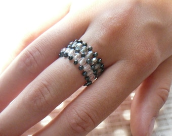 Ring beaded Bohemian and seed beads. Size 50