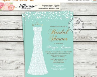 Bridal Shower Invitation - Wedding Dress - Sparkles and Pearls - Printable Invitation - Digital File - Wedding Shower - LR1006