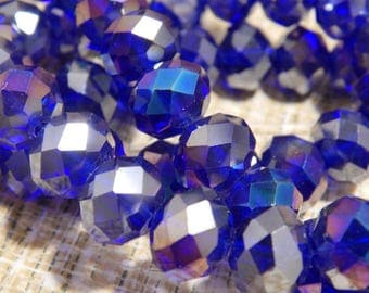 10mm 6.5 Cents Each 210 Pieces Blue AB Roundel Swarovski type Crystal Abacus Beads for Beading Supplies Earrings Necklace Bracelet