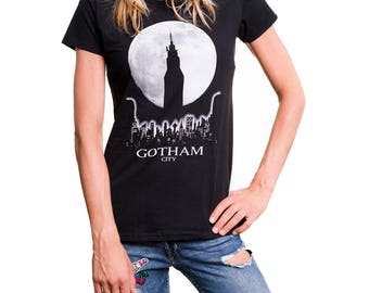 Funny Womens T-Shirt with Gotham Print - Comic Manga Anime Top black S/M/L
