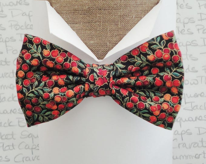 Featured listing image: Winter berries pre tied bow tie, bow ties for men