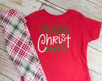 Merry CHRISTmas Shirt and Coordinating Leggings to Celebrate Christmas Day or Christmas Eve~Pictures with Santa