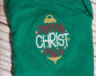 Merry CHRISTmas Ornament Bodysuit on Green