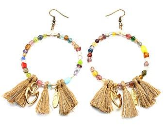 Hoop earrings, Boho earrings, Bohemian jewelry, Beaded earrings, Boho jewelry, Bohemian earrings, Earrings for women, Gift for women