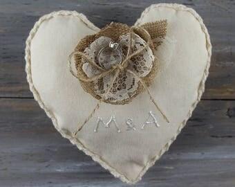 Ring Bearer Pillow  Personalized Ring Pillow Wedding Ring Cushion Denim Pillow Ivory Pillow Wedding Pillow Ring Bearer Pillow