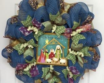 Oh Holy Night Inspirational Deco Mesh Christmas Wreath
