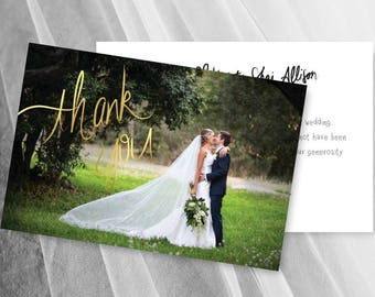 Wedding Foil Thank You Cards Faux Gold Foil Photo Card Template Digital Download