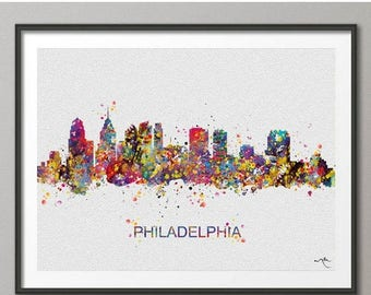 Philadelphia Skyline, Print, Watercolor Painting, Pennsylvania Print, Cityscape, City Poster, Wall Art, Home Decor, Back To School [NO 336]