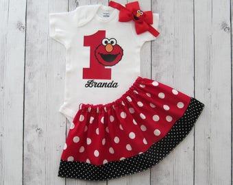 Elmo First Birthday Outfit - red black, Elmo girl birthday, Elmo birthday dress, Elmo 1, Elmo headband, Elmo first birthday girl