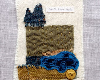 Don't look back - Textile Art, Textile Collage, Handmade Textile Art, Irish Textile Collage, Porsche – Handmade in Ireland