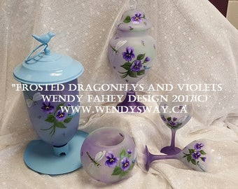 Frosted Dragonflys and Violets