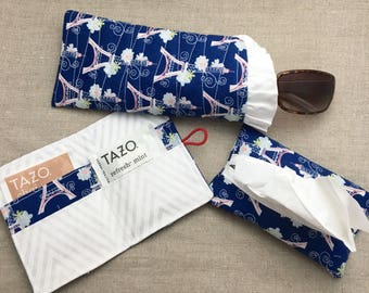 Handbag Accessories Gift Set - Quilted Sunglass Pouch + Tea Wallet + Tissue Cover - Eyeglass Pouch - Sunglass Pouch