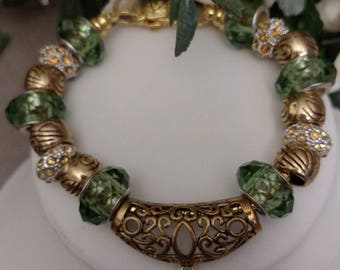 Gold Plated European Designed Bracelets, White, Green and Gold, 2 Choices, Gold Plated Chains, Charm Bracelet, Rhinestone Spacers