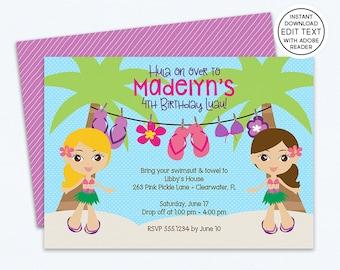 Hawaiian Invitations   Hawaiian Party   Hawaiian Birthday Invitations   Tiki Invitations   Tropical Invitations   Luau Invitation   263