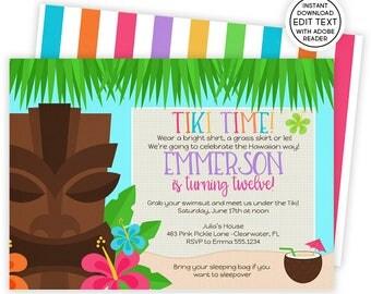 Luau Invitation, Hawaiian Invitations, Luau Birthday Invitation, Luau Party, Luau Party Invitations, Luau Invite, Luau Birthday, Luau   463