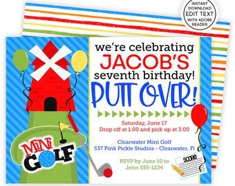 Golf Invitation / Mini Golf Invitation / Golf Birthday Invitations / Mini Golf Invite / Golf Party Invite / Golf Birthday Invitation | 537