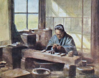 Japan 1900. A cloisonné worker. Old book plate, 1901. Antique  illustration. 116 years lithograph. 8'7 x 5'9 inches.