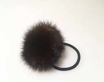 Brown mink pom pom for hair