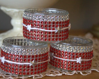 3 pretty festive candles stars and rhinestones - romantic girly kitsch - red and white