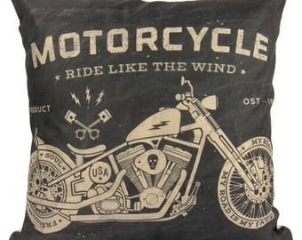 Vintage Chopper Style Motorcycle Ride like the Wind Black - Pillow Cover