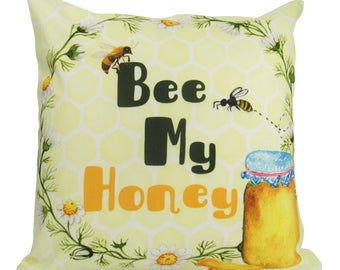 Bee My Honey on Stark White - Pillow Cover
