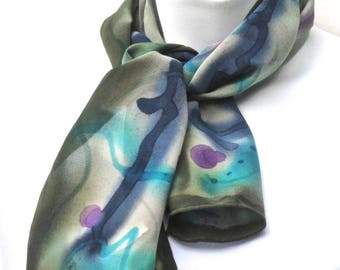 "Handpainted silk scarf: olive/sage greens, navy blue, magenta purple.  Scarf, hand painted silk. ""Rescue scarf""."