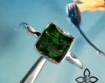 Chrome Diopside Ring, Chrome Diopside Jewellery, Chrome Diopside Rough Ring, 925 Silver Pendant, Solid Silver Jewellery, Adjustable Ring