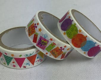 Set of 3 rolls of Masking Tape - party