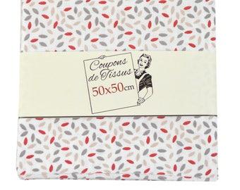 "Cut of fabric 100% cotton ""Stip red"" 50cm X 50 cm"