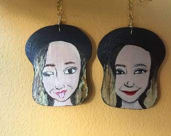 Lightweight, Hand Painted Earrings - (Customized portrait!)