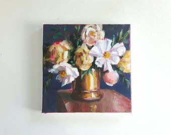 original acrylic painting, floral painting, flower painting, tiny painting, small painting, acrylics on canvas, boho art