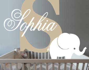 Cute Elephant wall decal - Custom Baby Girl Name - Nursery Wall decal - Personalized Name Monogram - Bedroom Nursery Initial Playroom