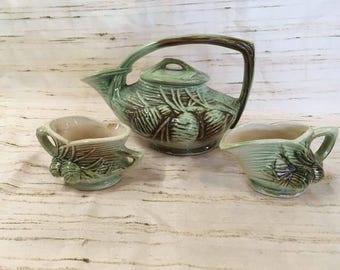 McCoy Pottery Pinecone Teapot Set