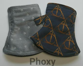 Harry Potter curved suck pads, Deathly Hallows suck pads, harry potter fabric, tula suck pads, discover tula ftg, discover suck pads