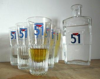 Pastis 51 Glasses & Carafe Set, Set Of Pastis Glasses, Pastis 51 Water Carafe, Pernod Ricard, Pernod Glasses, Vintage Apéritif Glasses