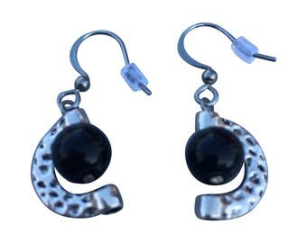 Half Moon Black onyx earrings