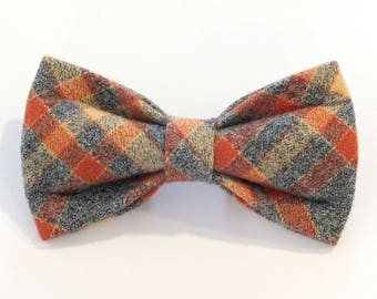 Fall Flannel Plaid, Dog and Cat bow tie, dog bow tie, bow, wedding bow tie, band, thanksgiving