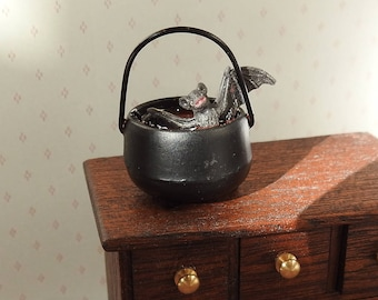 Dolls House Miniature Cauldron with a Bat