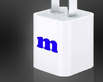 Personalized Initials Decal Vinyl Die Cut + USB Wall Adapter Charger Cell Phone