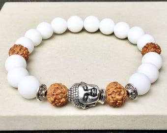 Alabaster Rudrakhsa woman yoga mala Buddha stretch bracelet - Meditation energy spiritual balance stackable bracelet - Wildcoastjewels -