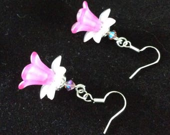 Earrings Lucite flowers, rose and white