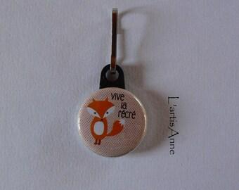 Zip Strap button zipper pull bright Fox playground.