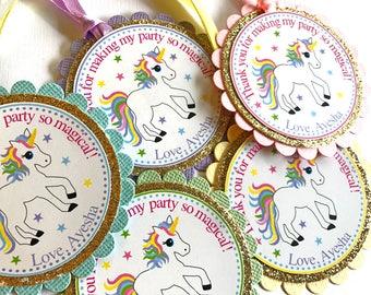 Unicorn Gift Tags, Unicorn Party Decorations, Unicorn Birthday, Unicorn Favor Tags, Unicorn Theme Favors, Unicorn Thank You Tags Set of 20