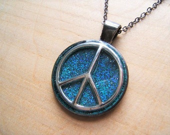 Peace sign necklace. CND symbol pendant.  Handmade resin pendant.