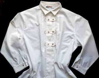 Vintage Alphorn Trachtenmode Traditional Austrian Alpine Womens Shirt blouse Size 46 XL